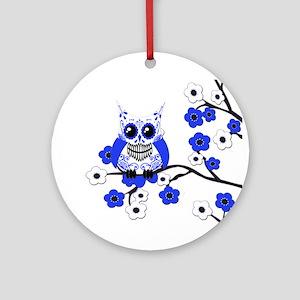 Blue & White Sugar Skull Owl Ornament (Round)