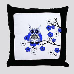 Blue & White Sugar Skull Owl Throw Pillow