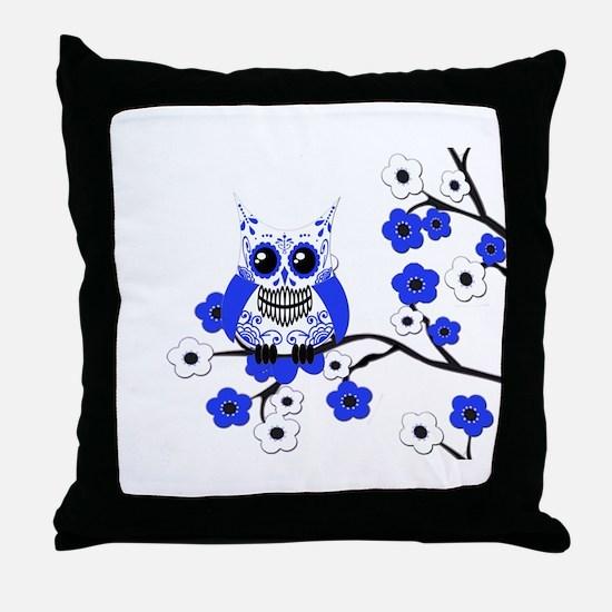 Blue & White Sugar Skull Owl Throw Pillow