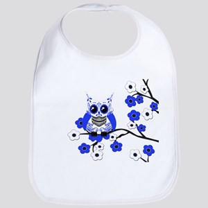 Blue & White Sugar Skull Owl Bib