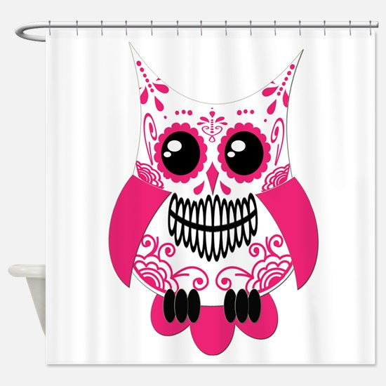 Hot Pink White Sugar Skull Ow Shower Curtain