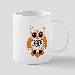Orange White Sugar Skull Owl Mug