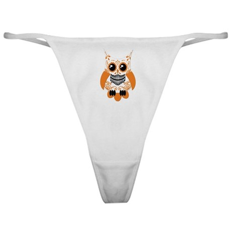 Orange White Sugar Skull Owl Classic Thong