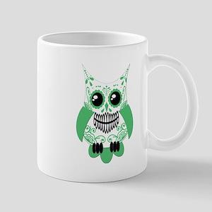 Green White Sugar Skull Owl Mug