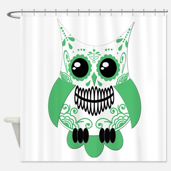 Green White Sugar Skull Owl Shower Curtain