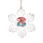 Flight Angel Rustic Snowflake Ornament