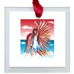 Flight Angel Square Glass Ornament