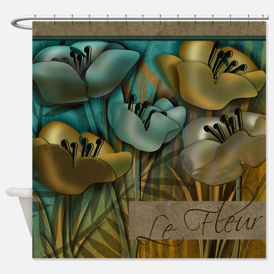 Aqua and Gold le Fleur Shower Curtain