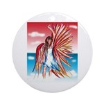 Flight Angel Ceramic Round Ornament