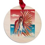 Flight Angel Maple Round Ornament