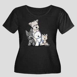 Terrier Time Women's Plus Size Scoop Neck Dark T-S