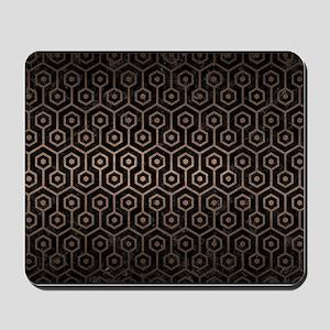 HEXAGON1 BLACK MARBLE & BRONZE METAL Mousepad