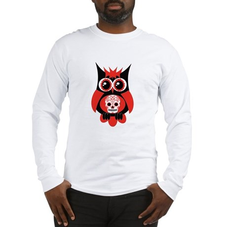 Red Sugar Skull Owl Long Sleeve T-Shirt