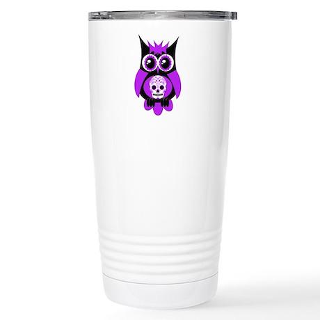 Purple Sugar Skull Owl Stainless Steel Travel Mug