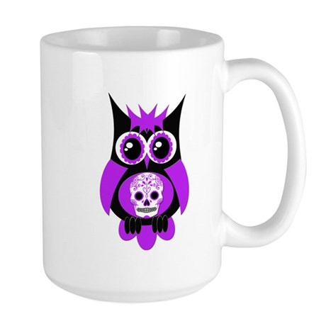 Purple Sugar Skull Owl Large Mug