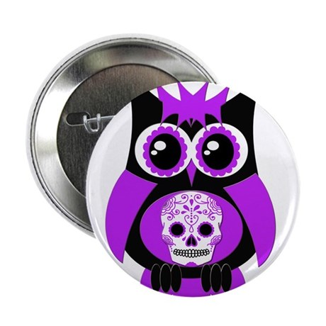 "Purple Sugar Skull Owl 2.25"" Button"