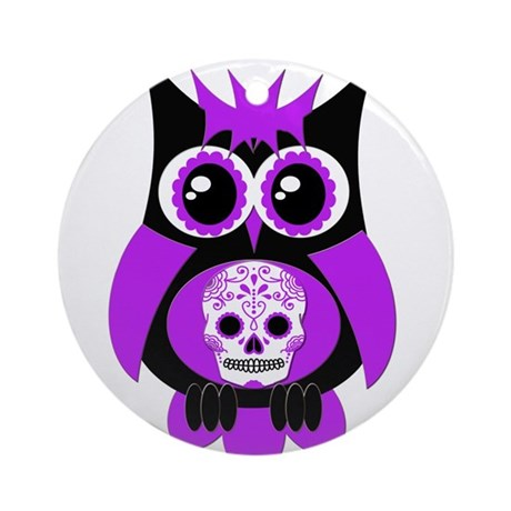 Purple Sugar Skull Owl Ornament (Round)