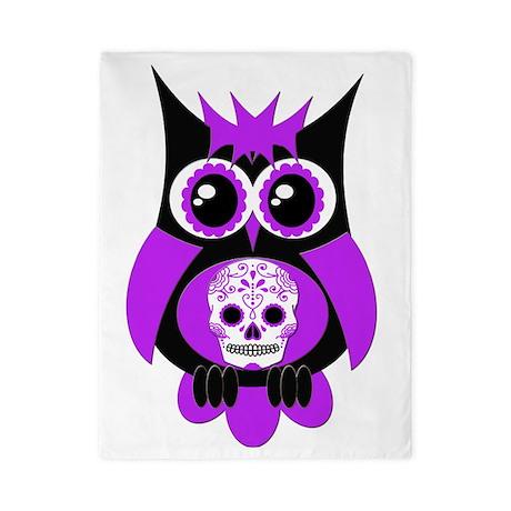 Purple Sugar Skull Owl Twin Duvet