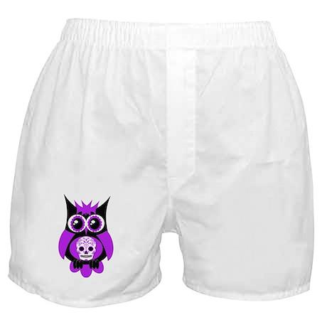Purple Sugar Skull Owl Boxer Shorts