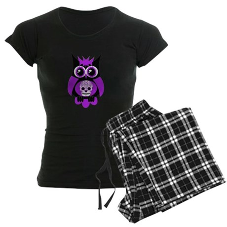 Purple Sugar Skull Owl Women's Dark Pajamas