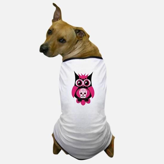 Pink Sugar Skull Owl Dog T-Shirt