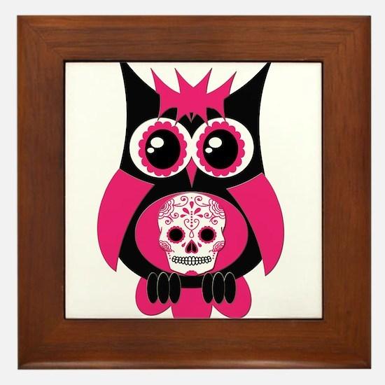 Pink Sugar Skull Owl Framed Tile