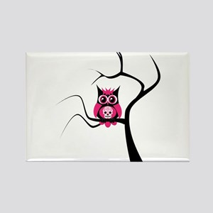 Pink Sugar Skull Owl in Tree Rectangle Magnet