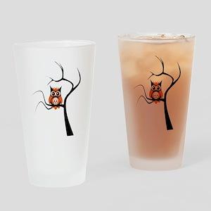 Orange Sugar Skull Owl in Tre Drinking Glass