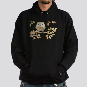 Owl with Tie in Tree Hoodie (dark)
