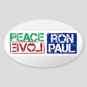 Peace Love Ron Paul Sticker (Oval)