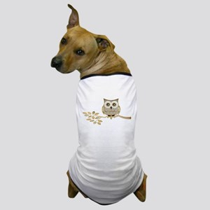 Wide Eyes Owl in Tree Dog T-Shirt