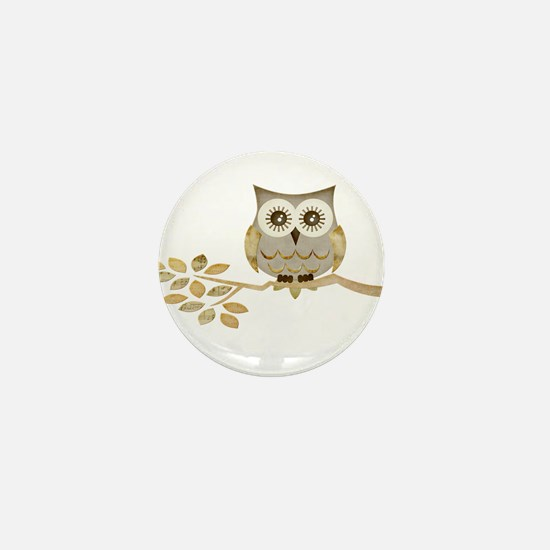 Wide Eyes Owl in Tree Mini Button (10 pack)