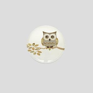 Wide Eyes Owl in Tree Mini Button