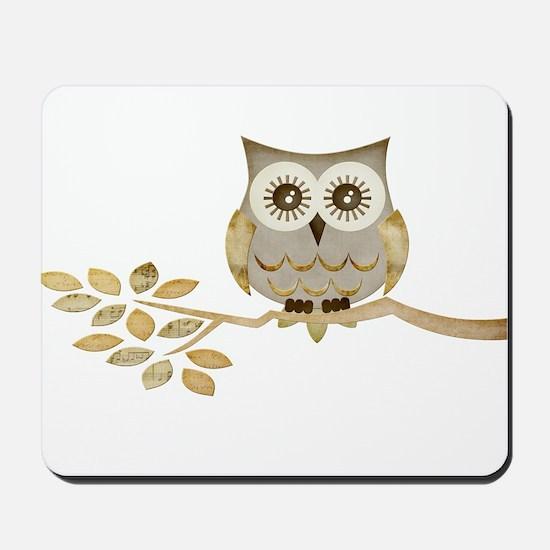 Wide Eyes Owl in Tree Mousepad