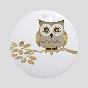 Wide Eyes Owl in Tree Ornament (Round)