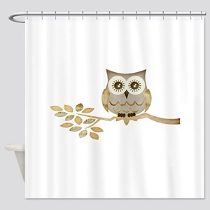 Wide Eyes Owl in Tree Shower Curtain
