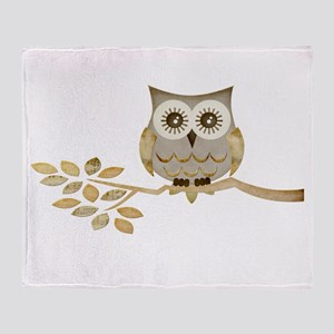 Wide Eyes Owl in Tree Throw Blanket