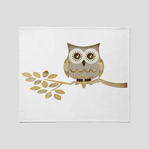 Wide Eyes Owl in Tree Throw Blanket