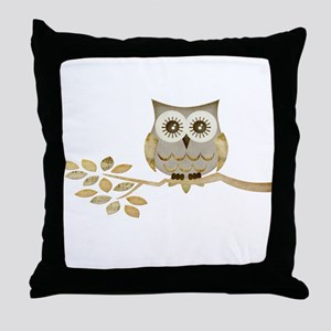 Wide Eyes Owl in Tree Throw Pillow