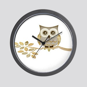 Wide Eyes Owl in Tree Wall Clock