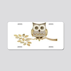 Wide Eyes Owl in Tree Aluminum License Plate