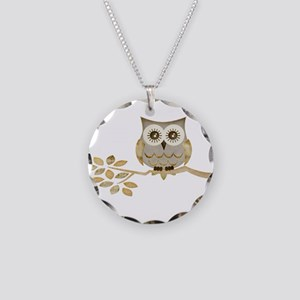 Wide Eyes Owl in Tree Necklace Circle Charm