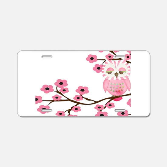 Cherry Blossom Owl Aluminum License Plate