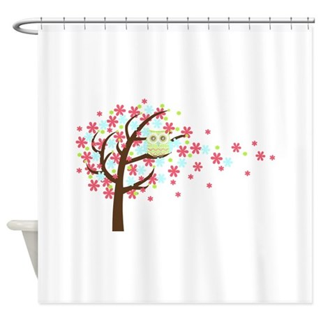 Pink Windy Tree Owl Shower Curtain