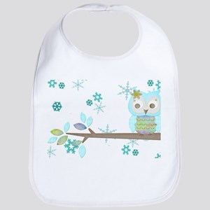 Winter Snowflake Owl in Tree Bib