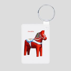 Dala Horse Aluminum Photo Keychain
