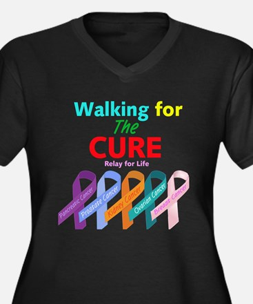 Walking for the CURE Women's Plus Size V-Neck Dark