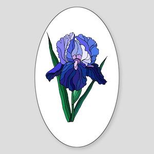Stained Glass Iris Oval Sticker