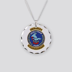 US - NAVY - Seal Team 4 Necklace Circle Charm