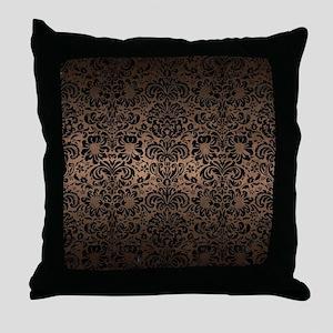 DAMASK2 BLACK MARBLE & BRONZE METAL ( Throw Pillow